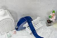 Бархатная лента 4 см. синяя