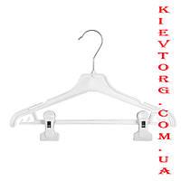 Плечики вешалки белые пластиковые костюмные для подростковой одежды с прищепками, 35 см