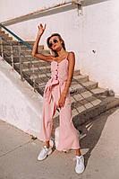 Светлый комбинезон (цвет - пудра, ткань - креп костюмка) Размеры S,М,L (розница и опт)