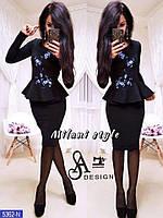 Костюм двойка кофта с баской юбка футляр Вышивка, фото 1