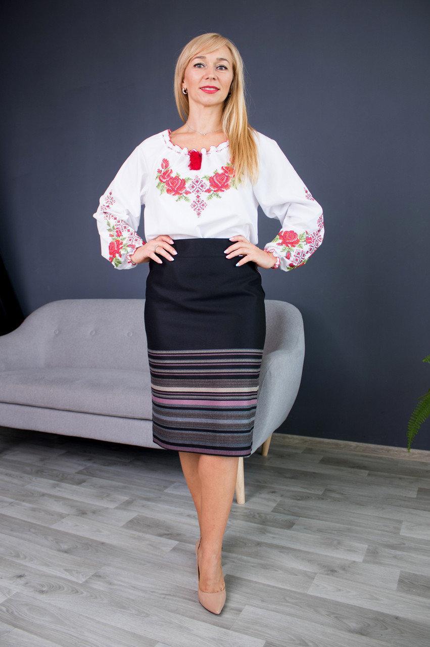 Прямая женская юбка больших размеров Оксана с розовым