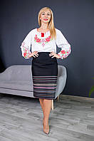 Прямая женская юбка больших размеров Оксана с розовым, фото 1