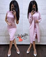 Костюм двойка пиджак кардиган Миди + Платье футляр МИДИ, фото 1
