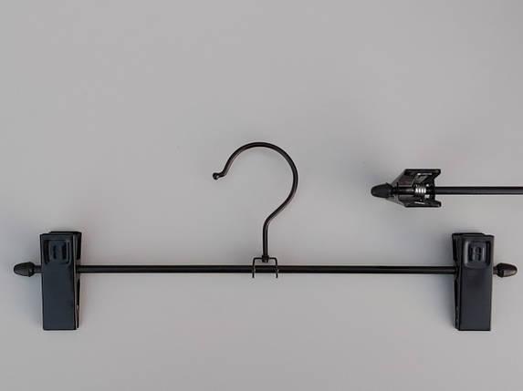 Плечики вешалки тремпеля для брюк и юбок металлические глянцевые, длина 36,5 см, фото 2