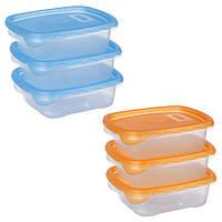 Набір контейнерів для харчових продуктів 3*0,7 л. квадратний, PT-82309