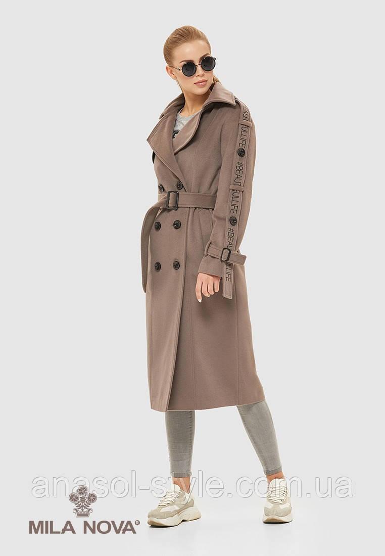 Пальто жіноче демісезонне італійська шерсть капучіно