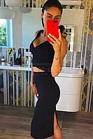 Костюм летний женский (топ + юбка, цвет - черный, ткань - дайвинг) Размеры S,М,L (розница и опт)