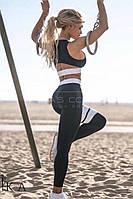 Костюм для фитнеса (топ + штаны, цвет - черный, ткань - дайвинг) Размеры S,М,L (розница и опт)
