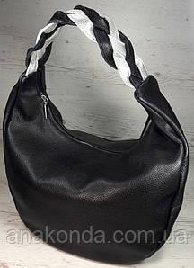 611  Натуральная кожа Объемная сумка женская черная Кожаная сумка-мешок Черная кожаная сумка на плечо хобо