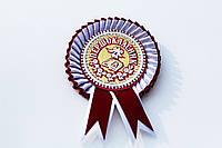Значок первоклассник Бархат бордовый с белым