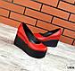 Женские красные туфли на черной платформе натуральная кожа, фото 2