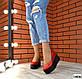 Женские красные туфли на черной платформе натуральная кожа, фото 3