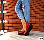 Женские красные туфли на черной платформе натуральная кожа, фото 5