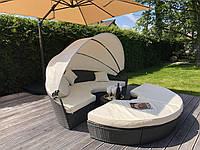 Кровать шезлонг круглая, диван лаунж из ротанга 210 см. серый!