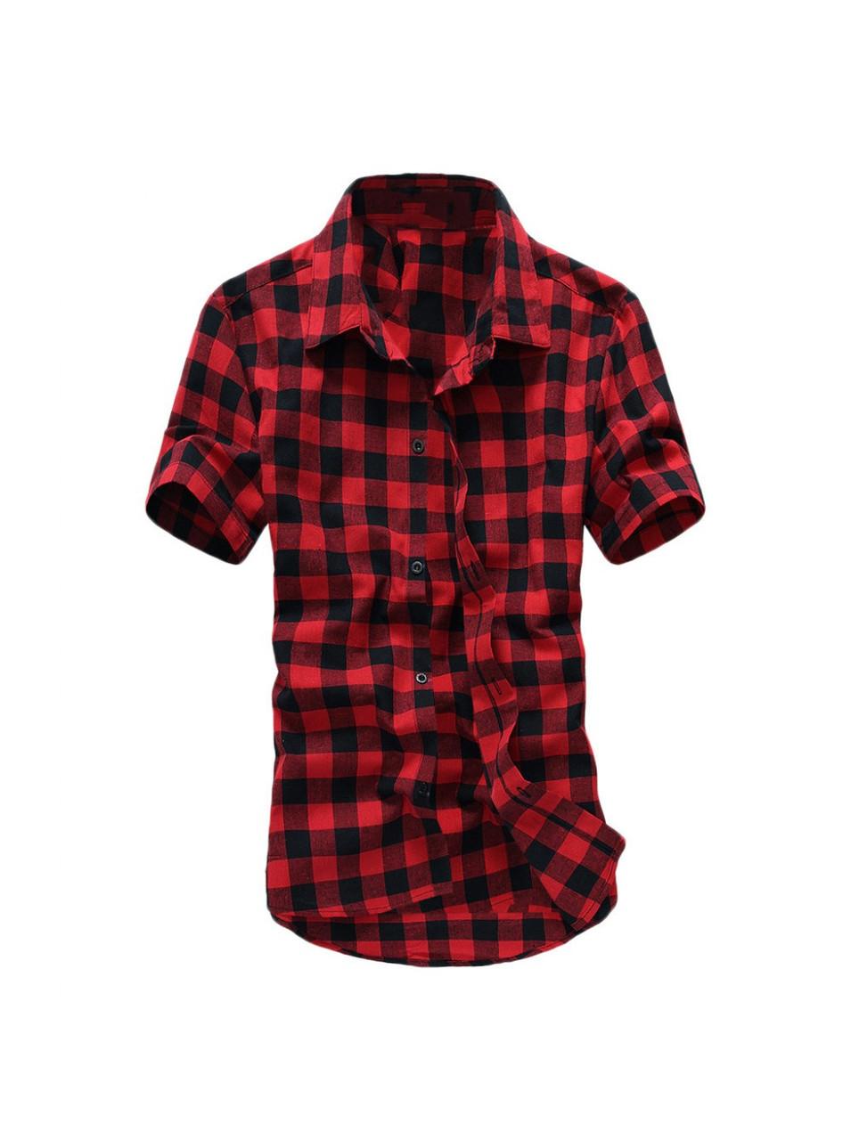 Рубашка мужская в клетку с коротким рукавом