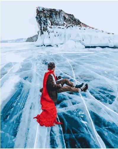 """Картина по номерам Brushme """"Красный шарф на льдине байкала"""" GX26284"""