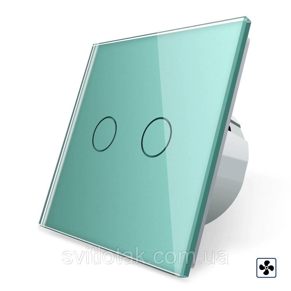 Сенсорный выключатель Livolo для ванной комнаты свет и вытяжка зеленый стекло (VL-C702-2IH-18)