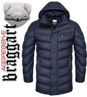 Куртка на меху удлиненная мужская зимняя Braggart Aggressive - 1955R темно-синяя