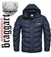 Куртка зимняя на меху мужская Braggart Aggressive - 2682Y темно-синяя