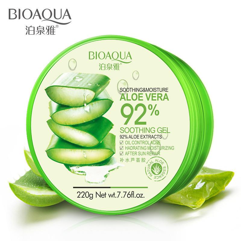 Гель для лица и тела с алоэ вера успокаивающий и увлажняющий Bioaqua Aloe Vera 92% Soothing Gel (220г)