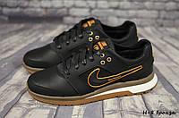 Мужские кожаные кроссовки Nike (Реплика)  (Н-8 чер/бронза  ) ► [40,41,42,43,44,45]