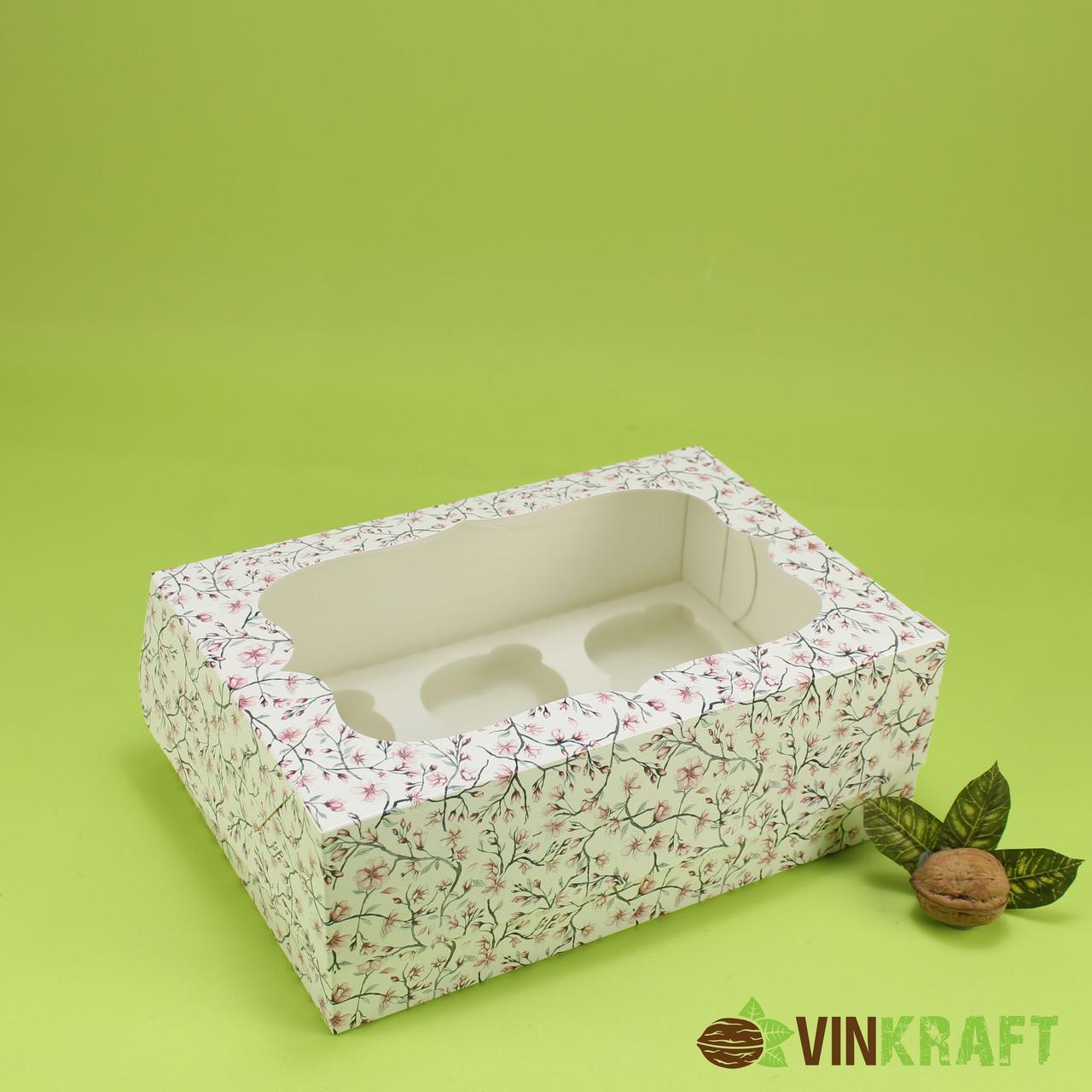 """Коробка 250*170*90 для капкейков (6 шт) з вікном, """"Сакура"""""""