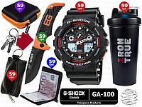 6пр. Ударопрочные Casio G-Shock GA 100 мужские наручные электронные часы в наборе (нож Gerber,ключница д.р.)