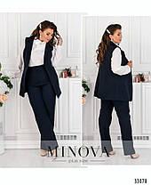 Эффектный женский костюм-тройка в деловом  стиле  больших  размеров с 50 по 56, фото 2
