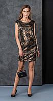 Платье Deesses-P-023 белорусский трикотаж, черно-коричневый, 42