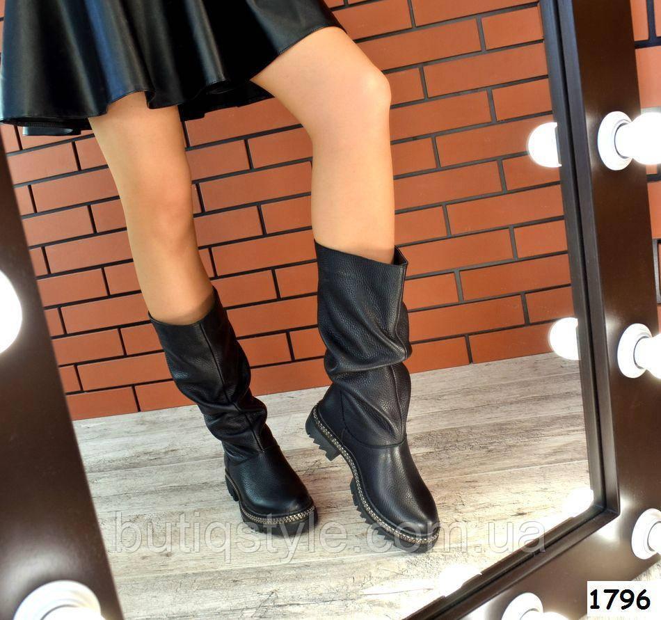 Демисезонные женские черные сапоги нанизком ходу натуральная кожа