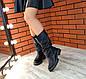 Демисезонные женские черные сапоги нанизком ходу натуральная кожа, фото 7
