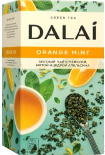 """Чай зеленый пакетированный с мятой, мелиссой, цедрой апельсина  """"Orange Mint"""", ТМ """"Dalai"""" 25 шт.х 1.8г."""