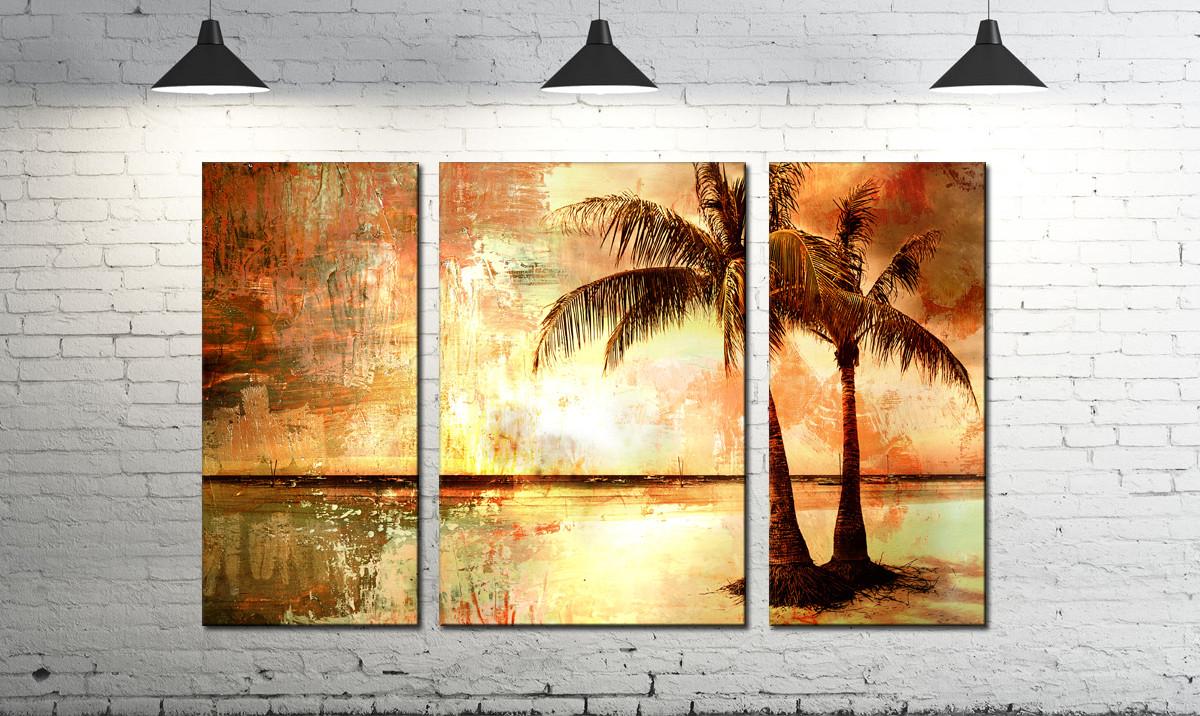 Модульная картина абстракция пальма на закате