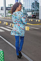 """Летний женский брючный костюм """"Флора"""" с туникой в цветочек (большие размеры), фото 3"""