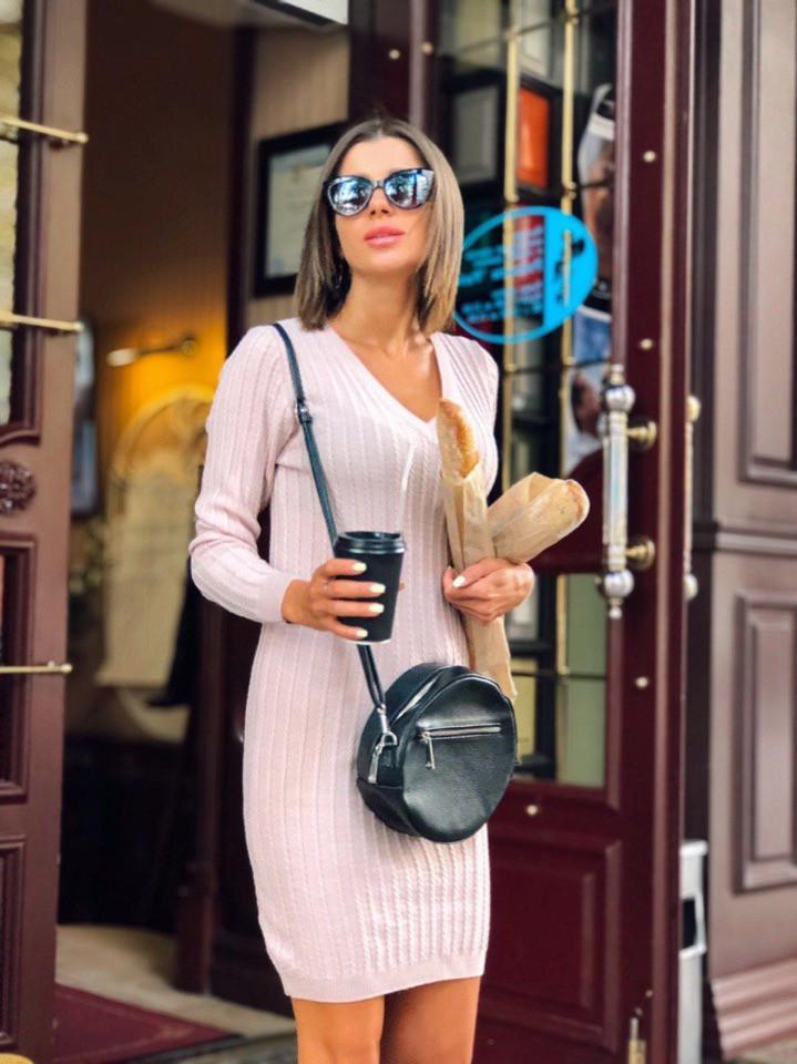 """Вязаное платье мелкие косы """"Галант"""", пряжа Италия.  Размер:S, M. Разные цвета (1061)"""