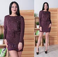 ЖІноче ангорове плаття з жемчугом , 6 кольорів.Р-ри 42-52, фото 1