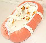 Переноска для новорожденной девочки, персиковая, фото 3