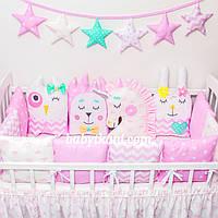 """Зашита в кроватку на 4 стороны. Бортики игрушки. Бортики зверюшки. """"Розовый мир 10"""""""