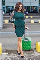 """Облегающее нарядное мини-платье """"Nicosia"""" с баской и вышивкой на сетке (большие размеры)"""