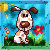 Пёсик на лужайке. Набор для вышивания нитками на канве 15х15cм., фото 1