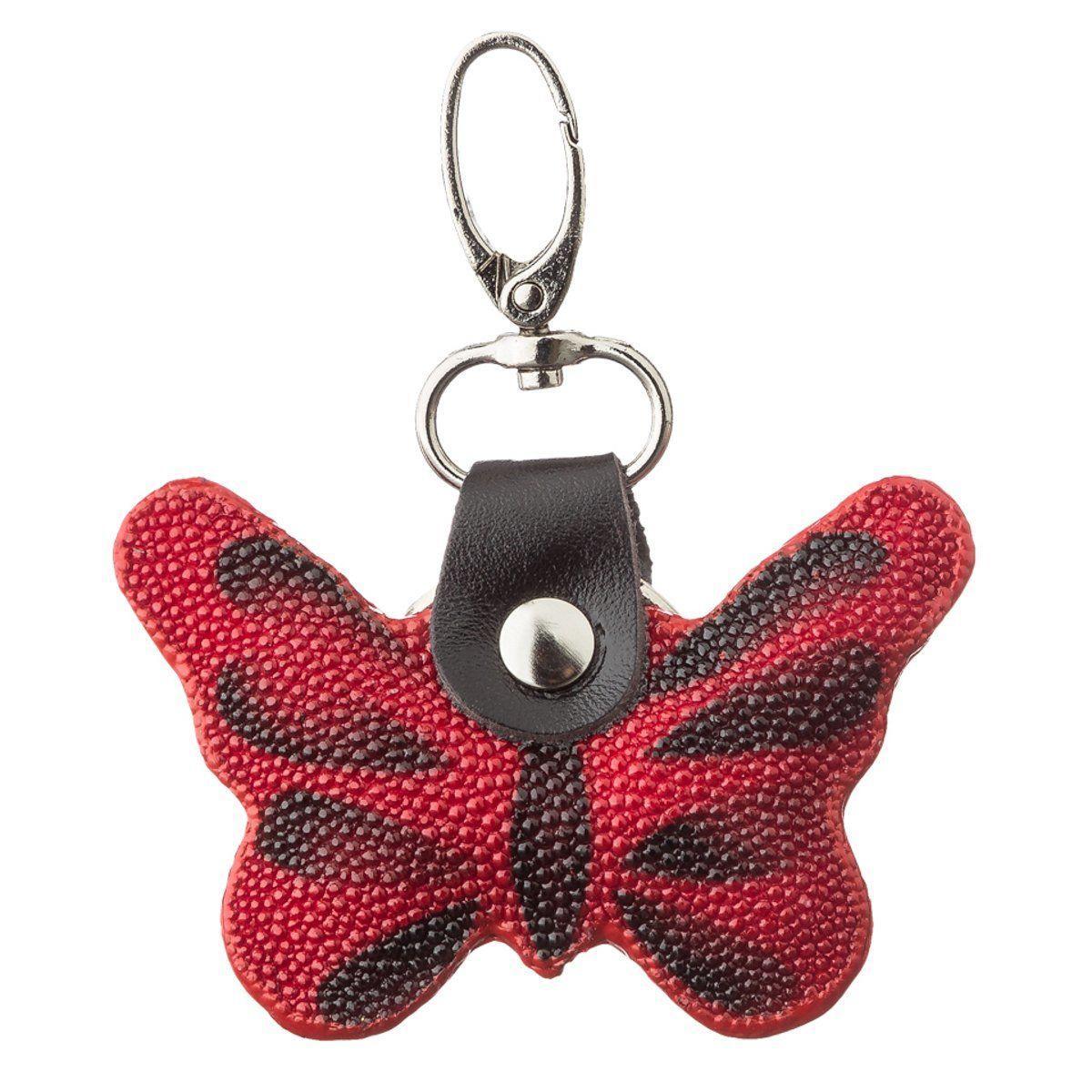 Брелок сувенир бабочка EkzoticLeather из натуральной кожи морского ската Красный (st 13)