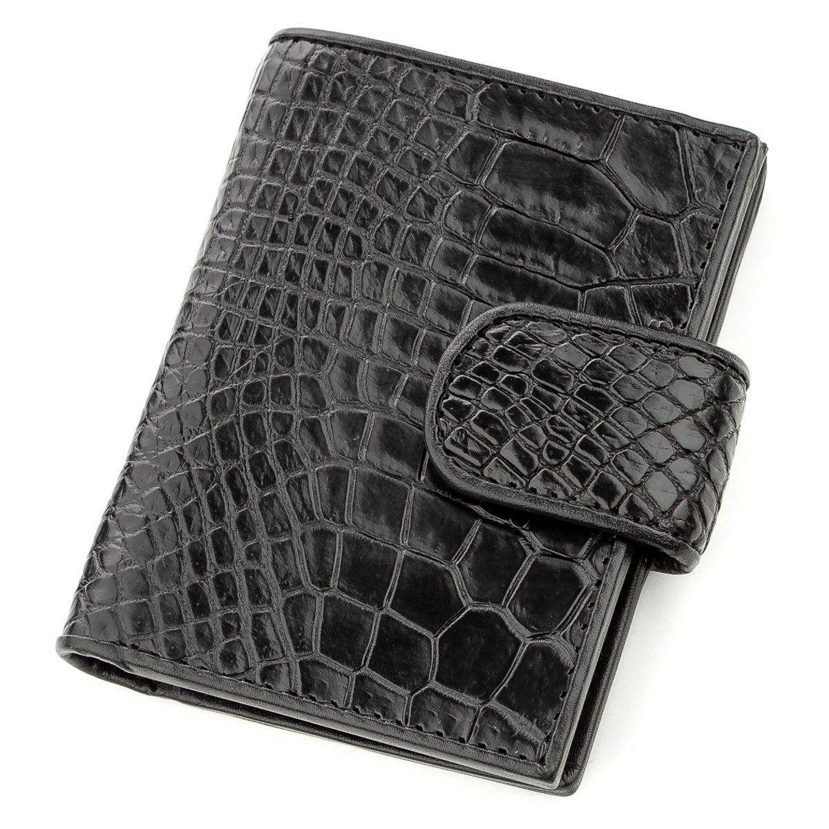 Визитница мужсккая Ekzotic Leather из натуральной кожи крокодила Черная (st 15)