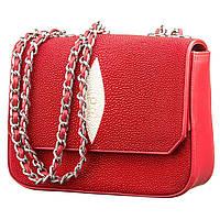 Клатч жіночий Ekzotic Leather з натуральної шкіри морського скату Червоний (sb 32)