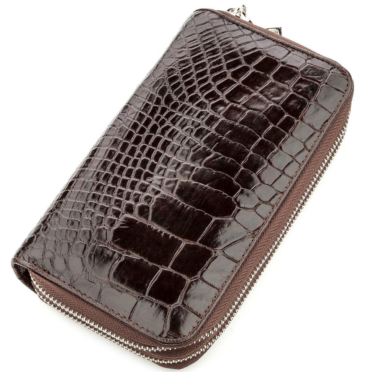 Клатч чоловічий Ekzotic Leather з натуральної шкіри крокодила Коричневий (cb 26)