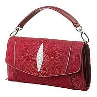 Клатч жіночий Ekzotic Leather з натуральної шкіри морського скату Червоний (sb 48)