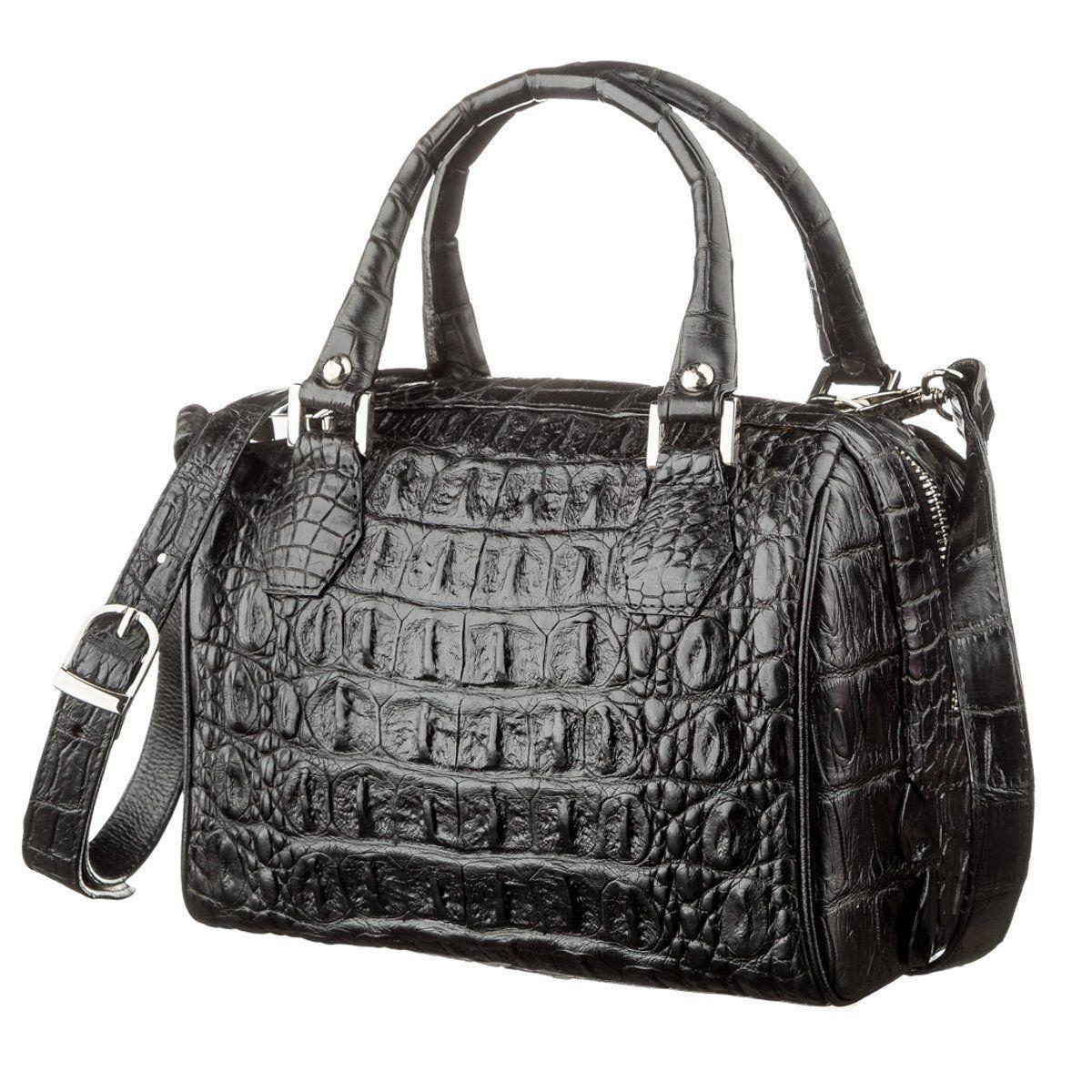 Сумка женская Ekzotic Leather из натуральной кожи крокодила Черная (cb 28)