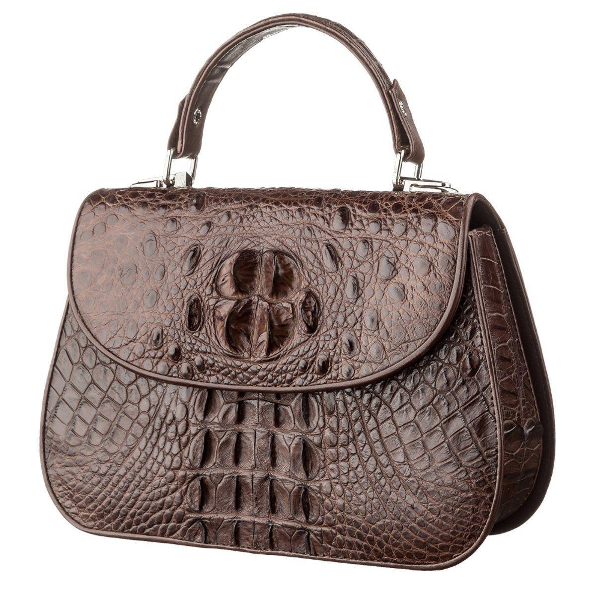 Сумка Ekzotic Leather из натуральной кожи крокодила Коричневая (cb 29)