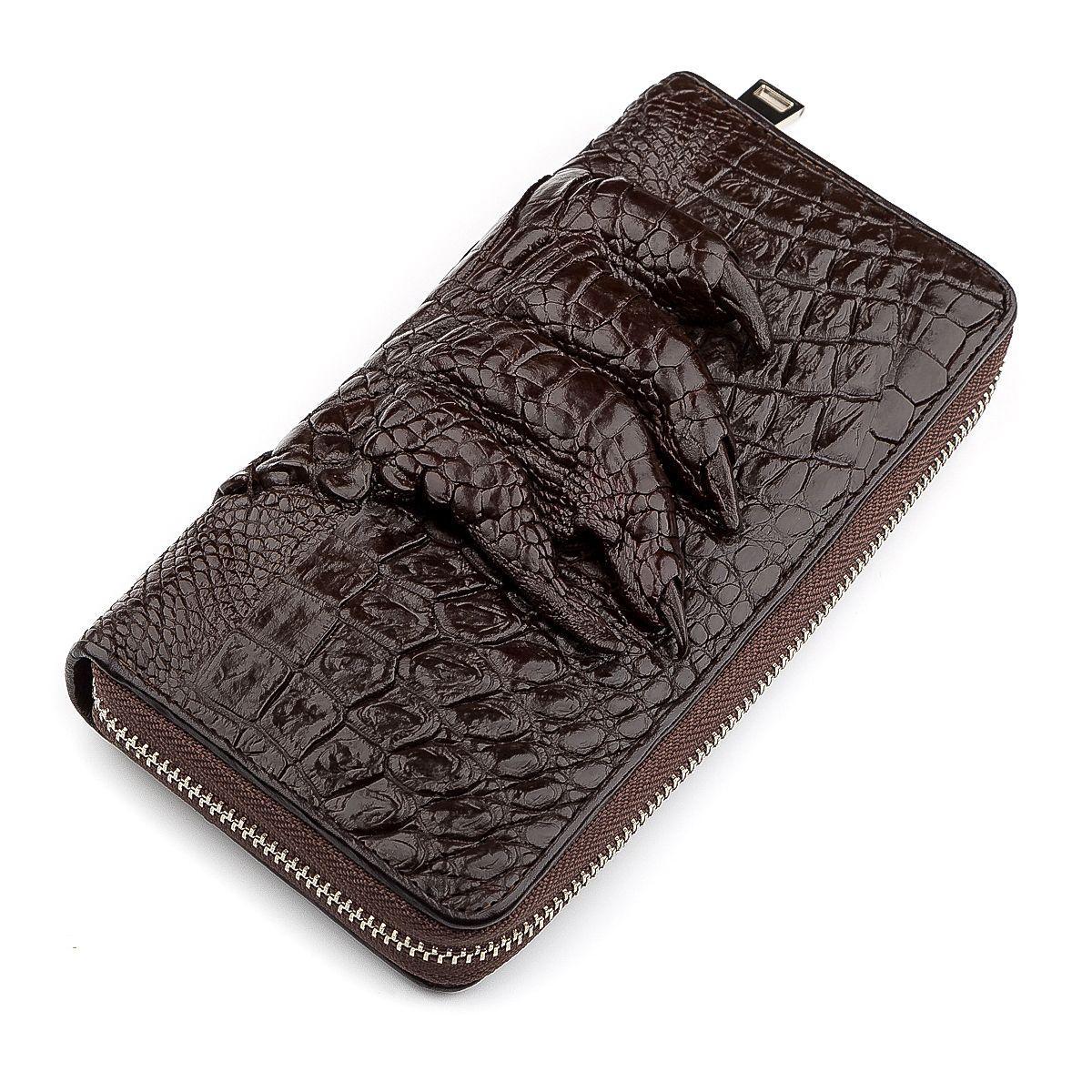 Клатч мужской Ekzotic Leather из натуральной кожи крокодила Коричневый (cb 30)