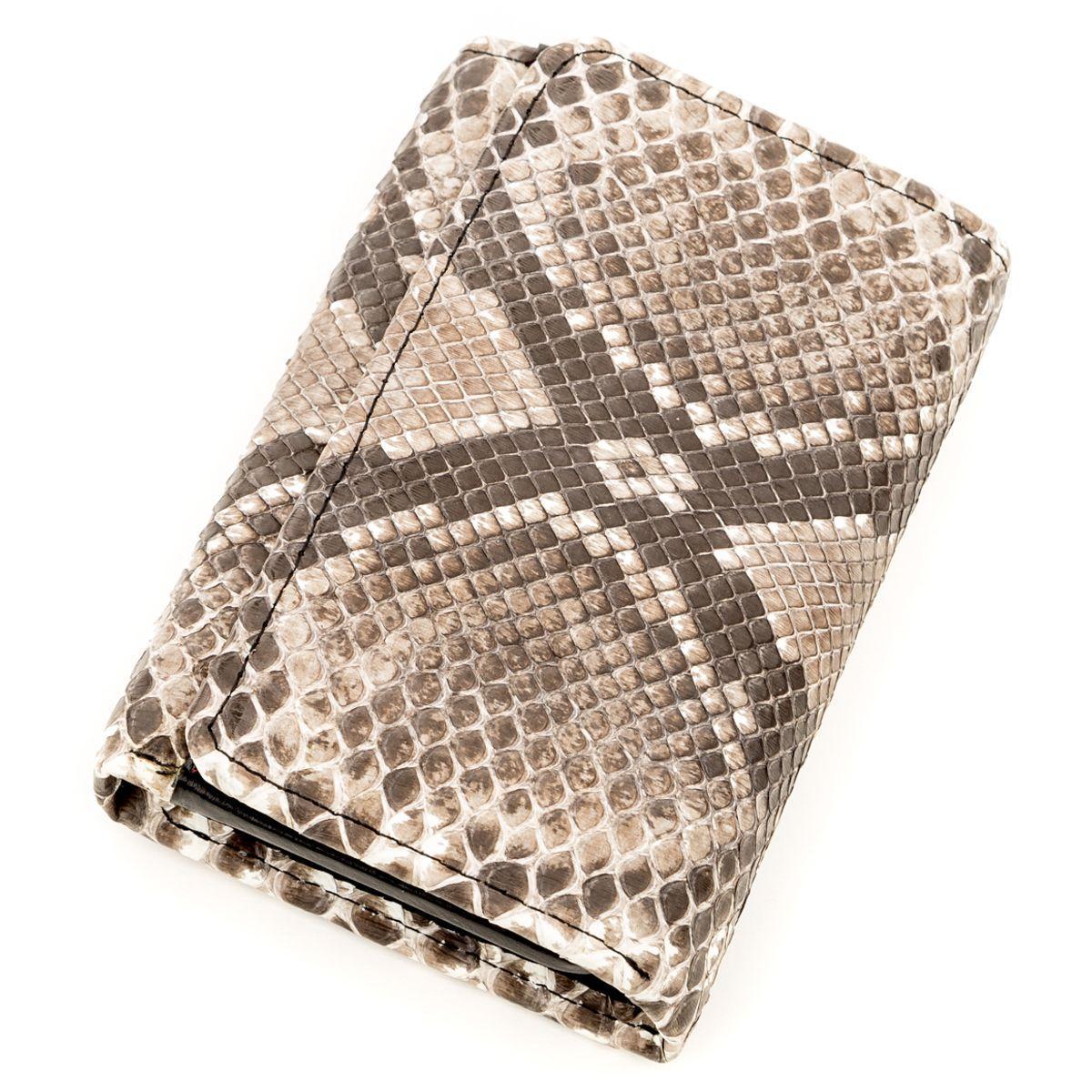 Вертикальний гаманець Ekzotic Leather з натуральної шкіри морського пітона Сірий (stw 146)