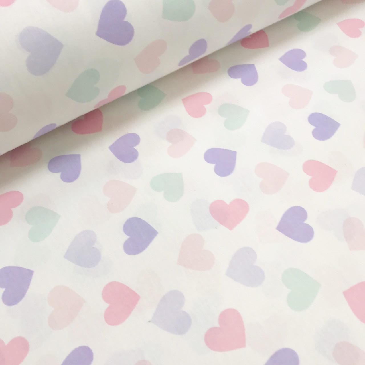 Хлопковая ткань (ТУРЦИЯ шир. 2,4 м) сердца  фиолетово-розовые на белом